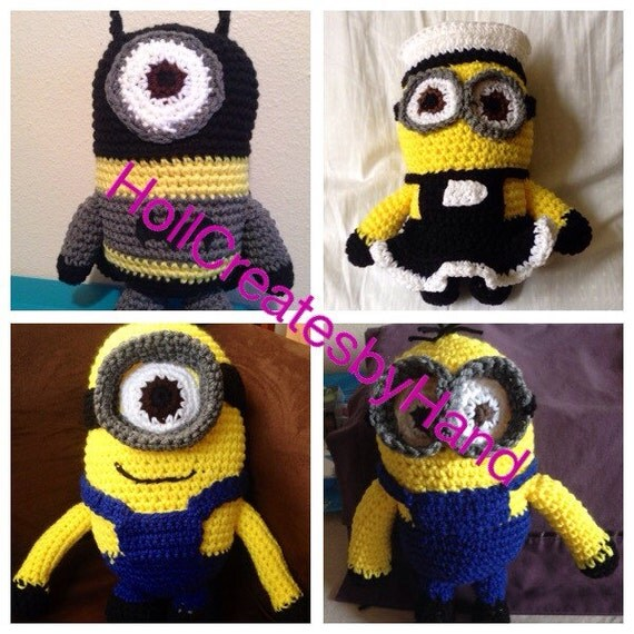 Free Crochet Batman Minion Pattern : Crochet Amigurumi Minion Dolls Minion Maid Batman Minion