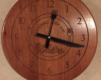 Laser Engraved Wall Clock/ Kitchen clock