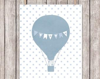 Nursery Printable Hot Air Balloon Blue Stars Art Print, 8 x 10 Instant Download Digital File