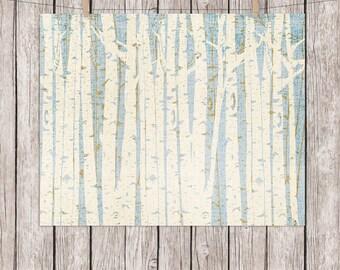 Birch Trees Printable Art Birch Tree Forest Art Print Nature Wall Art, 8 x 10 Instant Download Digital File