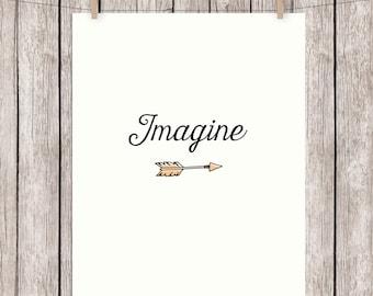 Imagine Printable Typography Art Print Quote, Beatles John Lennon Wall Art, 8x10 Instant Download Digital File