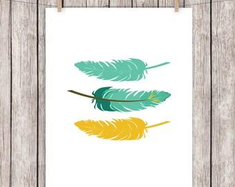 Feathers Printable Art Teal Mustard Yellow Tribal Art Print, Wall Art 8 x 10 Instant Download Digital File
