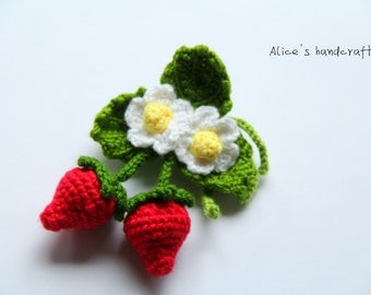 Crochet Strawberry Brooch. Handmade Brooch. Ready to ship.