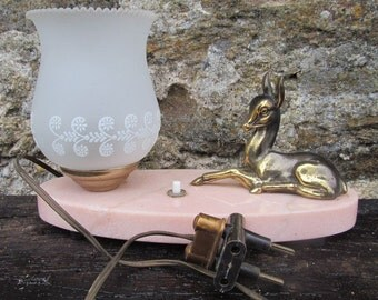 French 1960s vintage retro bedside table top lamp with marble base and sitting deer art deco style