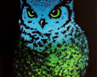 Blue & Green Owl Abstract Owl Art, Giclee Print of Original oil Painting
