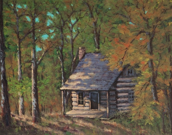 Items similar to log cabin in woods landscape art giclee for Log cabin painting