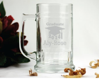 Laser Engraved Graduation Glass Stein Gift