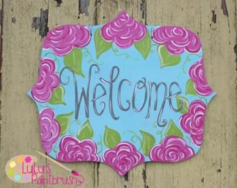 Floral Sign - Welcome Sign - Welcome -LuLu Original - Roses -Rosettes -Rose Sign - Front Door - Door Decor - Door Hanger - Spring Decor