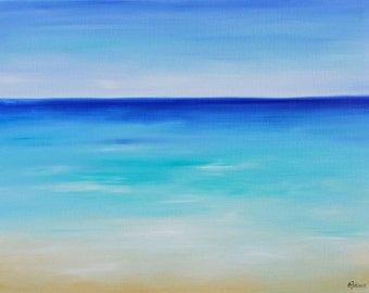 Beach painting Beach art Ocean art Abstract beach painting Seascape painting Ocean abstract painting Original oil painting on canvas 24x18""
