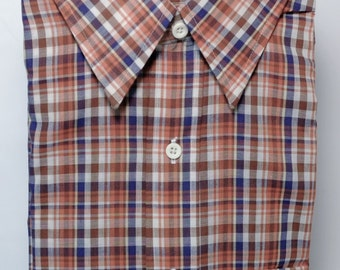 1970's Vintage Old New Stock Casual Plaid Men's Shirt