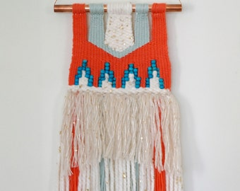 SALE - Tangerine, mint and turquoise hand woven tapestry wall hanging