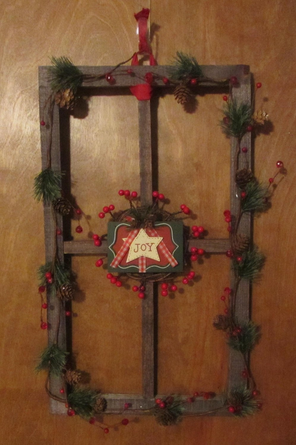 Rustic Joy Window frame Picture frame Wall Hanging Wreath Holiday Decor Winter Decoration Christmas Decor House Decor Room decor Holly Berry