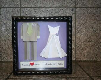 wedding or anniversary gift... orgami...bride and groom...shadow box