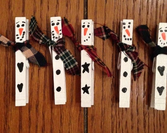 Snowman Clothespins, Hand Painted & Magnetic - Set of 5