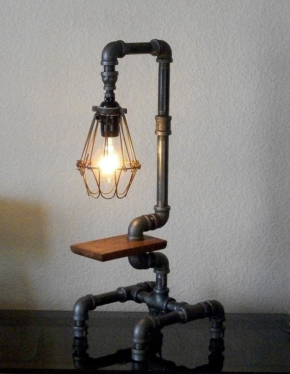 Items Similar To Industrial Table Lamp With Pipes On Etsy