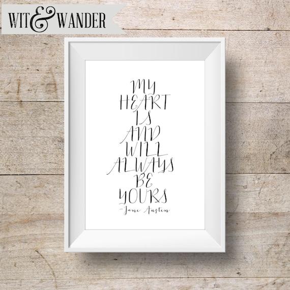 Jane Austen Quote Art INSTANT DOWNLOAD 8x10 Printable Sense and Sensibility Art Print, Home Decor, Wall Gallery Set Printable