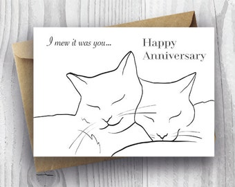Happy Anniversary Card, Printable Anniversary Card, Romantic Anniversary  Cat Card DIY, Anniversary Cats  Anniversary Cards Printable