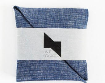 Pocket square blue chambray - blue chambray handkerchief - blue chambray wedding pocket squares collection - groom pocket square