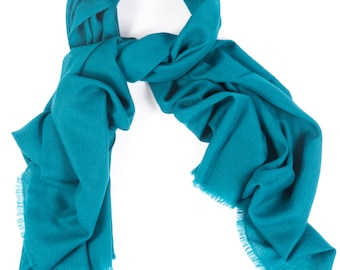 Teal 70% Cashmere and Silk Scarf