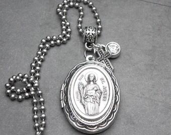 Girls Teenagers Patron St. Agnes Catholic Holy Medal Locket Necklace, Catholic Gift, Confirmation Gift