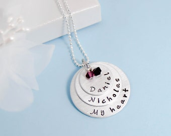Mommy Necklace, Kids names, 3disc, 3 Layer Names Personalized Mommy necklace, Layered with names