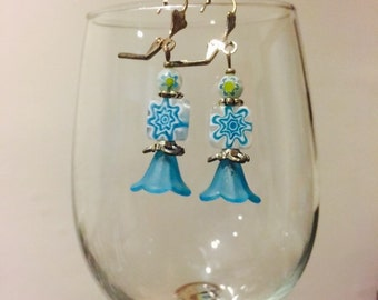 Sky Blue Dangle Flower Bead Earrings