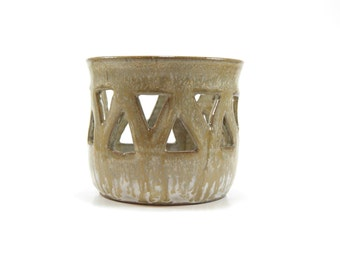 Pottery candle holder - stoneware luminary - candle keeper - candle lantern - cut out candle holder