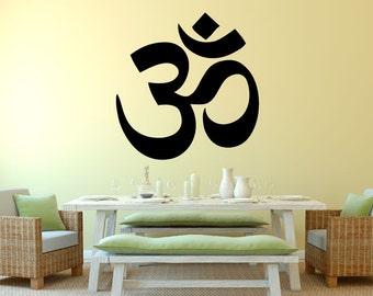 Hindu Om-Wall Decal - 0051 Yoga Decal - Sanskrit Wall Decal - Yoga Sticker - Indian Decal - Meditation Wall Decal - Om Wall Sticker