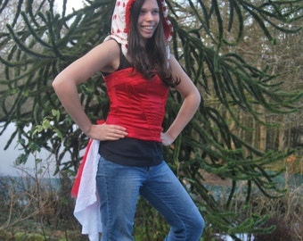 Corset with Hood and Bustle in Red & White