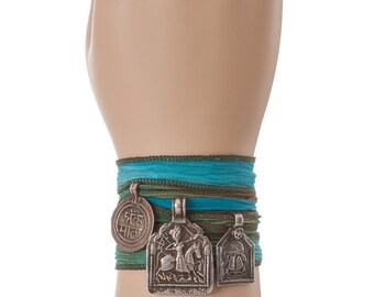antique silver bracelet, silk wrap bracelet, boho beach bracelet, silk bracelet, silver charm bracelet, silk charm necklace, charm wrap