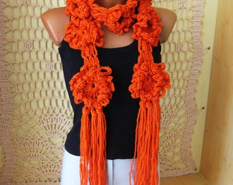 Women scarf Handmade Crochet scarf shawl Orange Flower Female Fringed scarf Аccessory