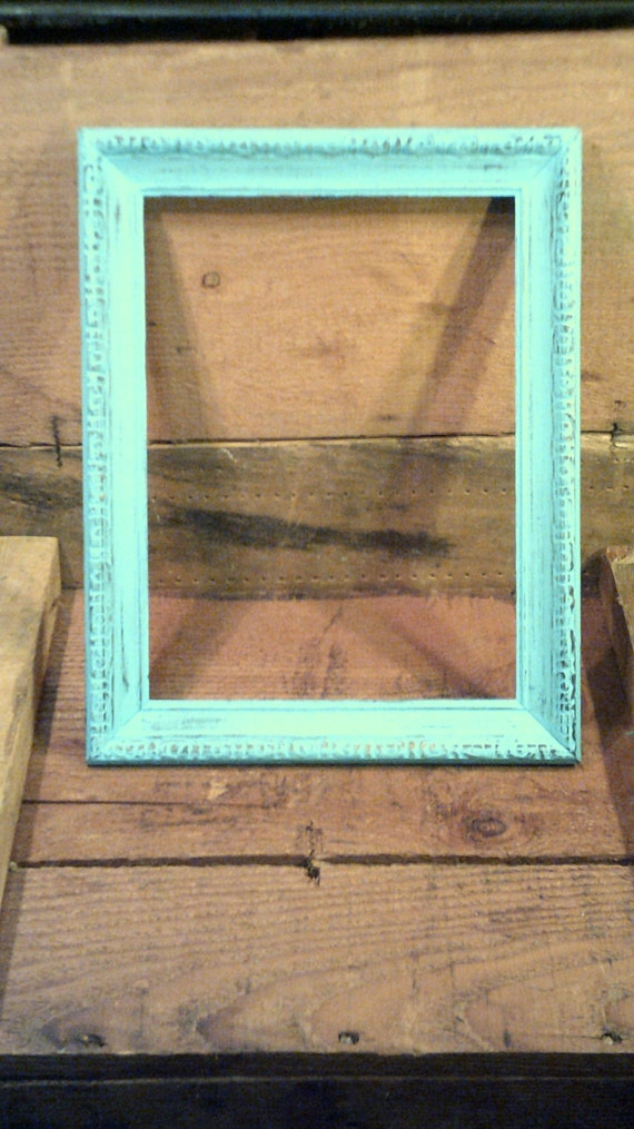 one upcycled ornate vintage frame 9x12 vintage frames in light aquateal turquoise