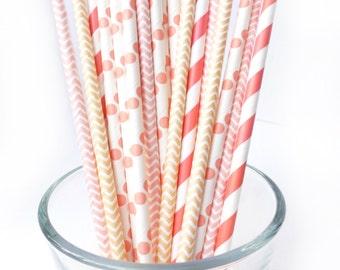 Peach Party Decorations - Peach Bridal Shower - Peach Striped Straws - Coral Party Decor - Peach Wedding - Peach Baby Shower -Party Straws