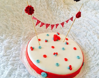 Felt roses and paper flags cake topper/cake bunting
