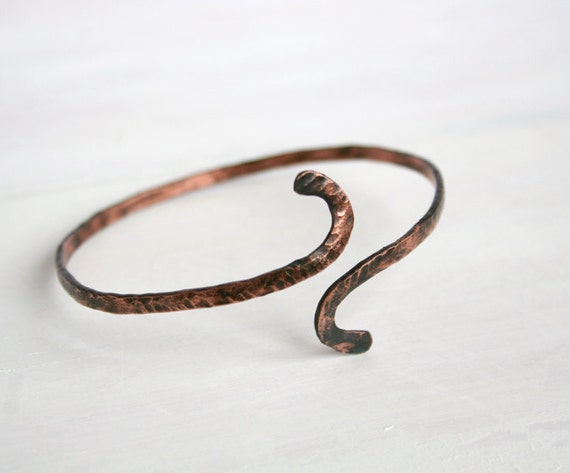 Hand forged copper bracelet rustic texture