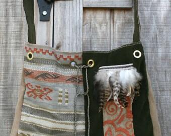 Feathered Tapestry Shoulder Bag