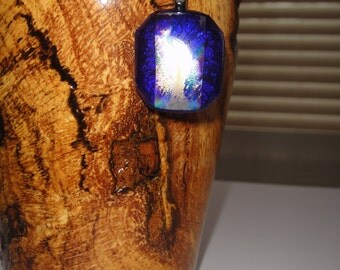 Blue Iridescent Fused Glass Necklace!