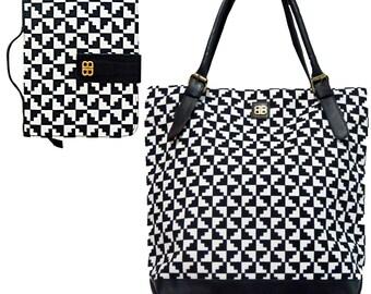 Bagabook Classic Black & White Liquorice Design Elegant Set: Tote Style Shoulder Bag + Book Bible Journal Cover Carrier w Unique Hand Strap