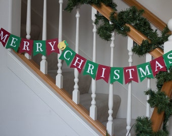Merry Christmas banner, red and green, Holidays