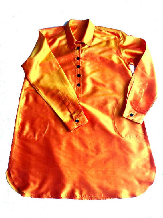 OrangeSilk. Pure Silk. Mother pearl buttons. Handmade. Ribbons inside. cmz collection. cmz.