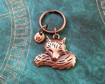 Fox Keychain SMALL Copper Fox Keyring Copper Keychain Personalized Keychain Copper Keychain Bridesmaid Keychain Animal Keychain Fox Gift