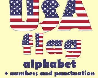 American flag alphabet clipart, patriotic 4th of July font, capital and small letters, numbers and punctuation marks; for commercial use
