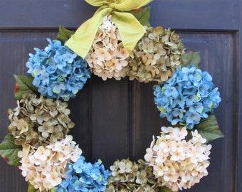 Spring Hydrangea Wreath, Spring Wreath, Front Door Wreath for Spring Door Decor, Spring Door Wreath, Summer Wreath, Summer Door Decoration