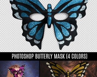 Beautiful Digital Prop - Transparent PNG Overlay Butterfly Mask Costume for Photography Prop - Instant Download