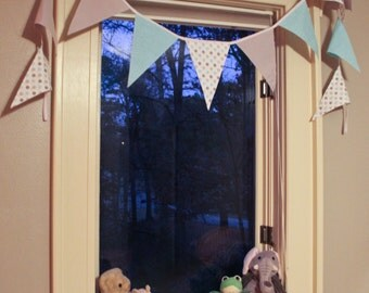 New Baby Boy Bunting ~ Double Sided ~ 8 ft ~ 13 flags - Blue & Polka Dots