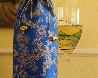 Gourmet Wine Bag-Glitter Collection (Royal Blue n' Gold Floral Swirl)
