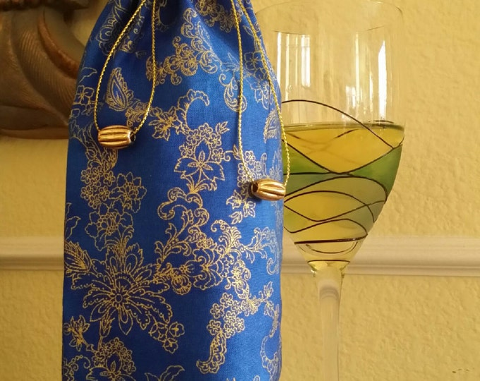 Wine Bag-Gourmet-Glitter Collection (Royal Blue n' Gold Floral Swirl)