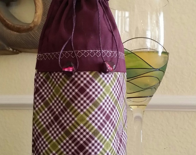 Wine Bag-Deluxe-Classic Collection (Burgundy Plaid)