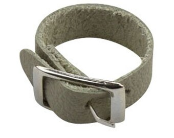 Gray Leather Ring, Grey Handmade Leather Ring, Grey Leather Jewelry Gift Ideas,  Buckled Leather Ring for Her, Buckle Belt Leather Ring