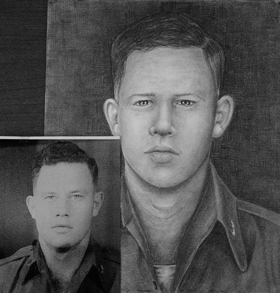 Military Special! Military in uniform get 50% off of your order! Free shipping always. Custom graphite portrait drawing from your photo.